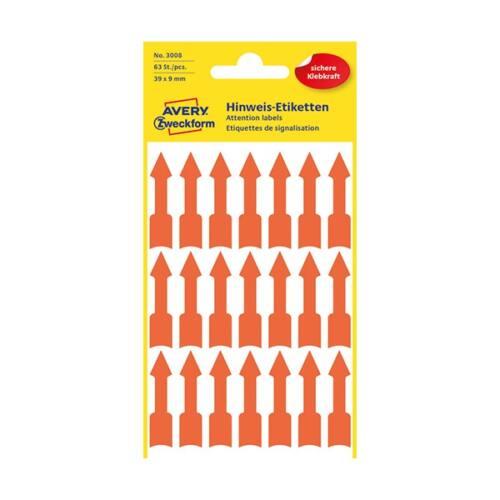 Etikett AVERY 3008 nyíl alakú fluoreszkáló piros 39x9mm 63 címke/csomag