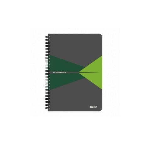 Spirálfüzet LEITZ Office A/5 PP borítóval 90 lapos vonalas zöld
